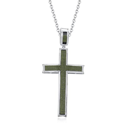 Amazon smjewels ladies 120 ct round peridot christ cross smjewels ladies 120 ct round peridot christ cross pendant 18quot chain 14k white mozeypictures Gallery
