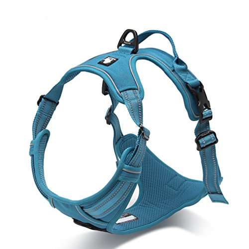 SGODA Dog Harness 3M Reflective Adventure Dog Vest Harness No Pull Pet Harness with Handle for Large Dogs, Blue