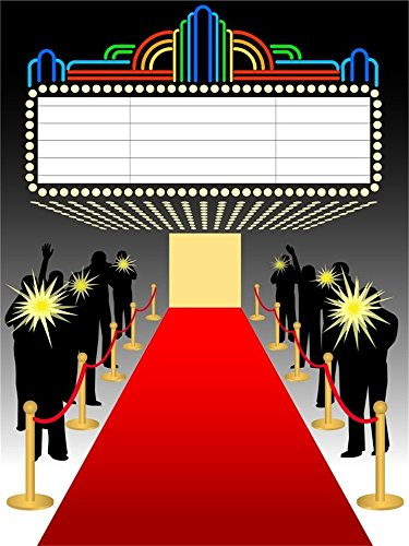 Laeacco 4x5ft Vinyl Photography Background Red Carpet Movie Hollywood Elegant Theatra Stage Show Entrance to Hall Wedding Party Performance Event Backdrop Camera Shoot Background Video Studio ()