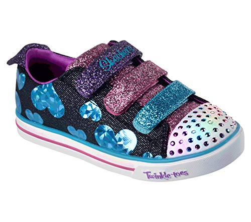 Girls Heart Skechers - Skechers Kids Girls' Sparkle LITE-Flutter FAB Sneaker, Black/Multi, 13.5 Medium US Little Kid
