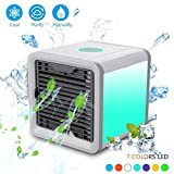 Hestio Portable Air Conditioner, Mini USB Personal Space Air Cooler, Humidifier and Purifier, Desktop Cooling Fan with 3 Speeds and 7 Colors LED Night Light for Office Home Outdoor Travel