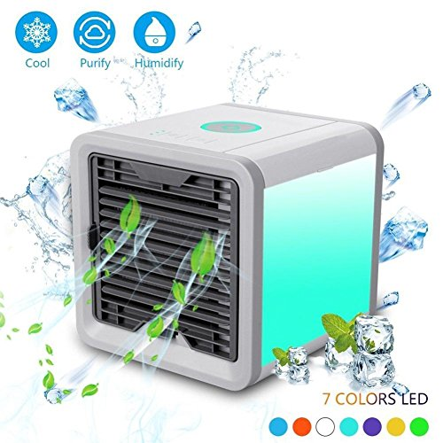 Hestio Portable Air Conditioner, Mini USB Personal Space Air Cooler, Humidifier and Purifier, Desktop Cooling Fan with 3 Speeds and 7 Colors LED Night Light for Office Home Outdoor Travel by Hestio