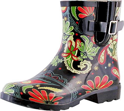 TWO Nomad Women's Dew Waterproof Rubber Ankle Rain Boot,11 M US,Black Paisley ()