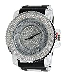 Men Techno Pave Hip Hop Iced Out Bling Diamond Rapper's Silver Silicone Watch 7840 GD