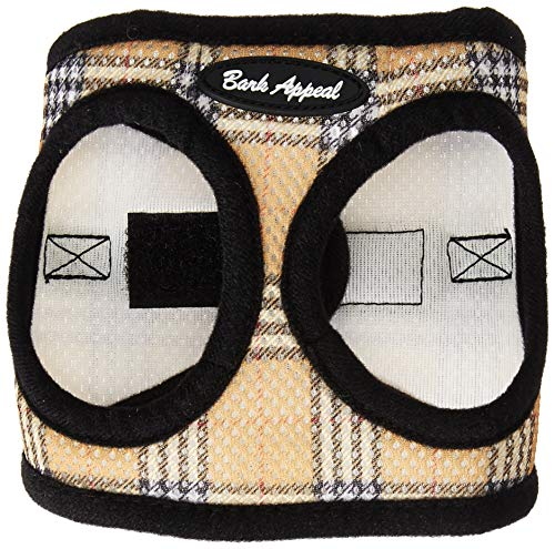 Bark Appeal Plaid Comfort Padded Pet Vest Mesh EZ Wrap Puppy Harness, X-Small, Tan
