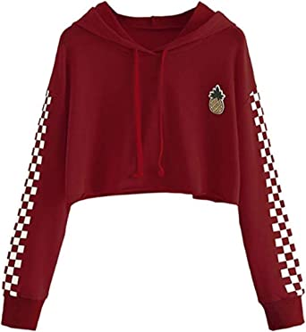 T Shirt Ado Fille à La Mode, Crop Top Femme Imprimé Ananas Été Sport T Shirt Printemps Automne Chic Manteau Pas Cher Chemisier Pullover Sweat Shirt