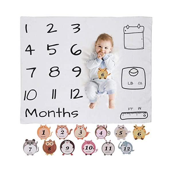 BriliStar Baby Monthly Milestone Blanket Photography Props Backdrop, Infant Newborn Baby Swaddling Soft Month Blanket for Photography New Mom First Year Set of Baby Monthly Milestone Stickers