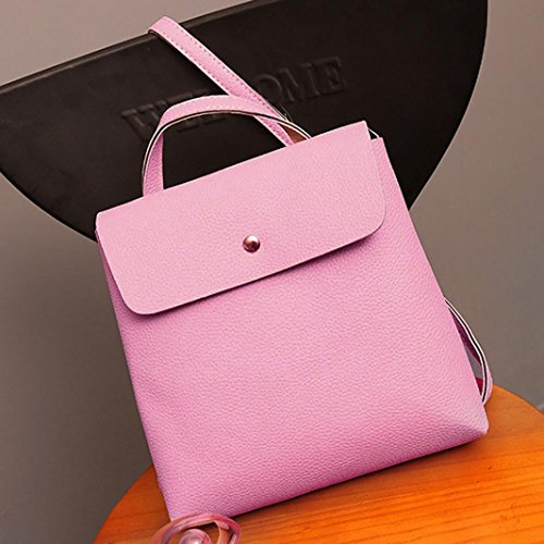 Fashion Satchel Backpack Rucksack Leather Bags Purse Womens School Bag Travel Pink Inkach RFYvnqtx5