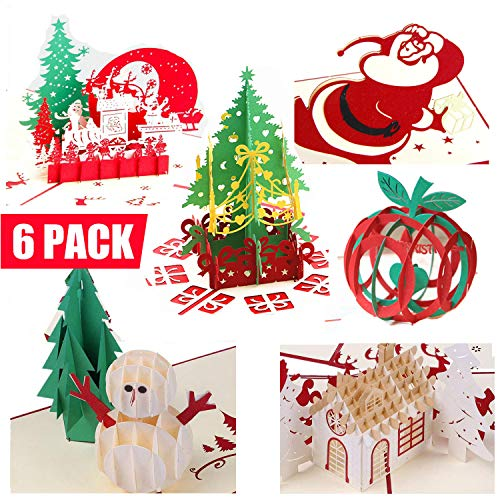 3D Christmas Pop Up Greeting Cards Gifts - Funny Unique Winter Holiday Postcards, Santa Claus, Noel, Reindeer, Dinosaur Gift Cards for Kids Birthday Friend Family Thanksgiving Wedding Invitations  (Unicef Birthday Cards)