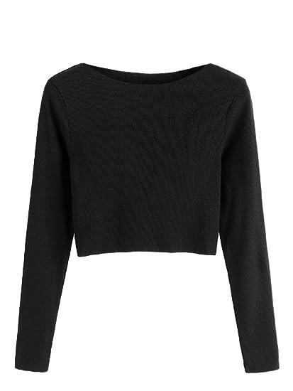 e8e218cb28 SweatyRocks Women s Solid Plain Long Sleeve Ribbed Knit Pullover Crop Tee  Tops Black S