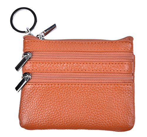 (Yeeasy Womens Mini Coin Purse Wallet Genuine Leather Zipper Pouch with Key Ring (Brown))