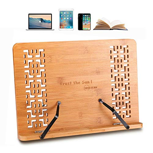 - SUNFICON Large Book Stand Bamboo Cookbook Holder Textbook Magazine Recipe Music Document Tablet PC Display Stand Collapsible Adjustable Tray Elegant Hollow Pattern Gift Idea Family Friends Students