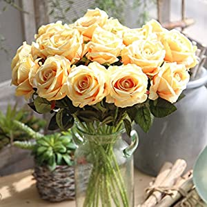 JOEJISN Artificial Flowers Roses 12pcs Real Touch Flannel Roses Silk Roses Fake Bridal Bouquet Wedding Decorations Floral Table Centerpieces for Home Kitchen Garden Party Decor (Light Yellow) 28