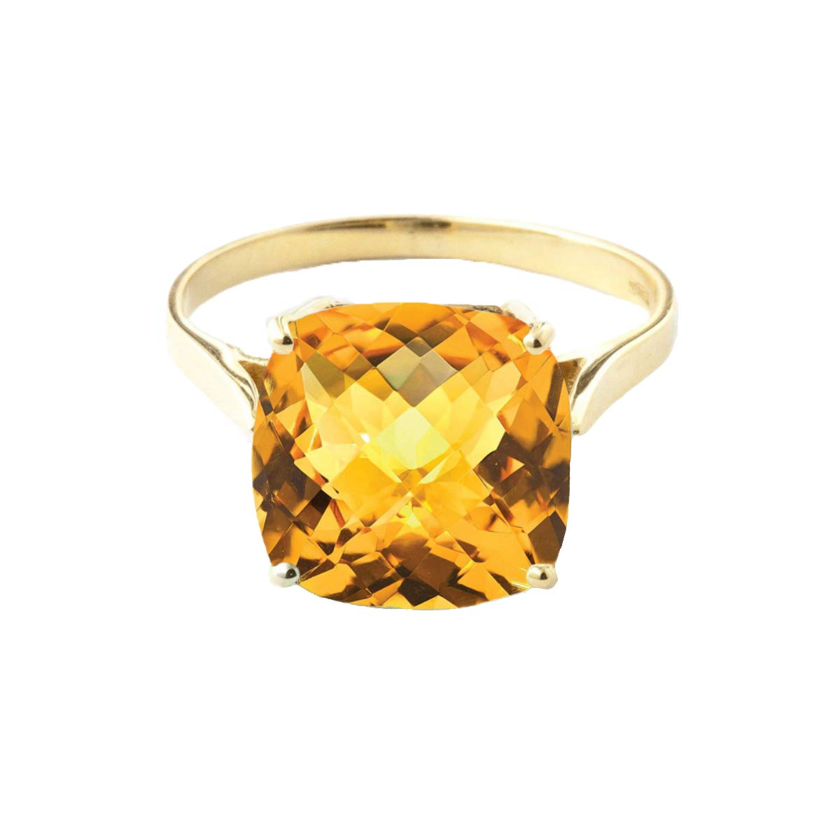 3.6 Carat 14K Solid Yellow Gold Ring Checkerboard Cushion Cut Natural Citrine 2313Y (8.5) by Galaxy Gold (Image #1)