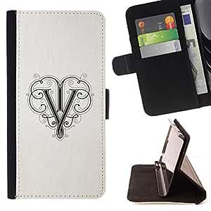 BullDog Case - FOR/Samsung Galaxy S5 V SM-G900 / - / V initial calligraphy letter paper ink /- Monedero de cuero de la PU Llevar cubierta de la caja con el ID Credit Card Slots Flip funda de cuer