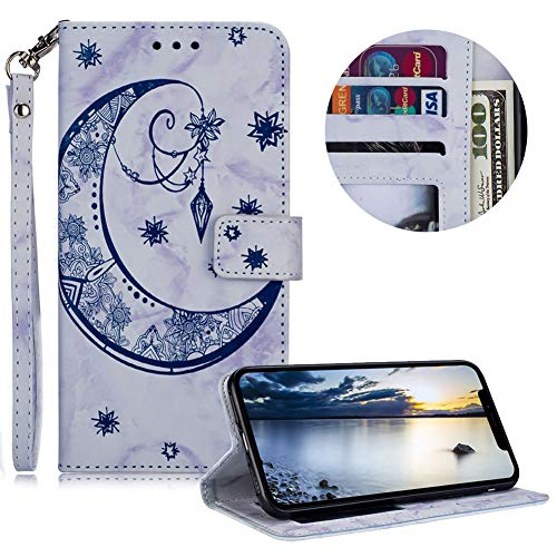 Price comparison product image Marble Moon Embossed Flower Soft Wallet Leather Case for iPhone X / iPhone XS, MOIKY Wrist Strap Magnetic Flip Stand Function Case for iPhone X / iPhone XS with Card Slot Pockets, Blue