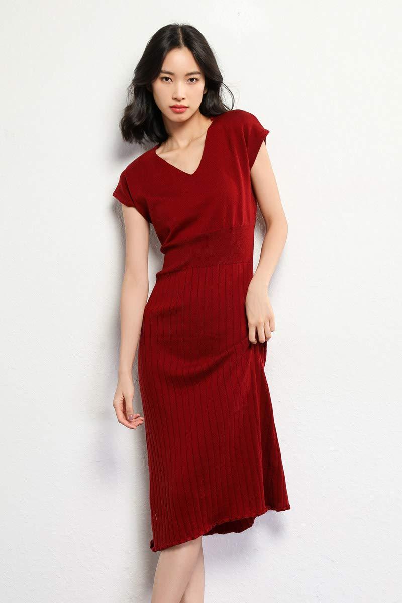 f8b6a5b5b15 Knit Dresses Women s Vneck Cashmere Short Sleeve Elegant Sheath Aline  Dresses for Party (L