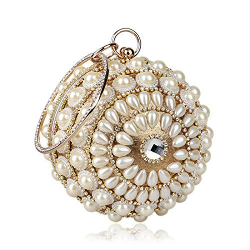 Flada Women's Crystal Ball Round Hard Case Evening Clutch Wedding Purse Wristlet Bag Gold ()