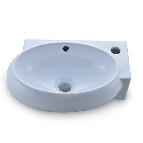 Lavello Ceramica Per Lavanderia.Obeeonr Lavello In Ceramica 1 Foro Lavabo Lavanderia Sospeso Bagno