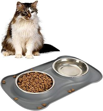 Supet Ciotola per Alimenti in Acciaio Inossidabile per Cani e Gatti Ciotola per Alimenti Antiscivolo Ciotola per lacqua Antiscivolo e Facile da Mantenere