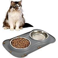 Ciotola Alimentazione Sicurezza in Silicone per Animale Domestico, comprende 2 Serie Ciotole in Acciaio Inox, 1 Tappetino Silicone Anti-Pieno e Ciotola Silicone Antiscivolo