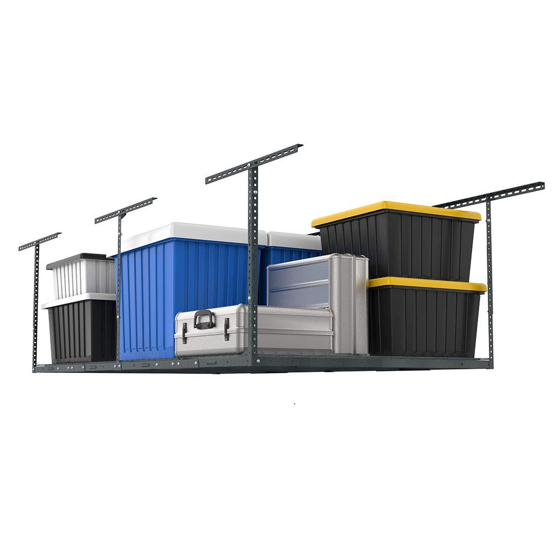 FLEXIMOUNTS 4x8 Overhead Garage Storage Rack Adjustable Ceiling Garage Rack Heavy Duty, 96'' Length x 48'' Width x (22''-40'' Ceiling Dropdown), Hammertone