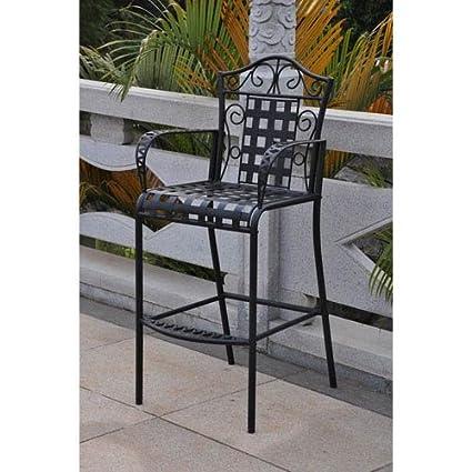 amazon com set of 2 mandalay iron bar height chair patio dining