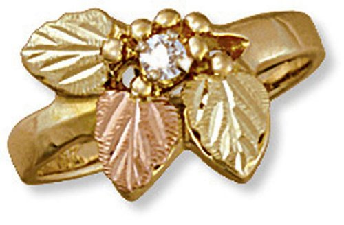 - Landstroms womens 10k Black Hills Gold Diamond Ring with Black Hills Leaves - G LC289X