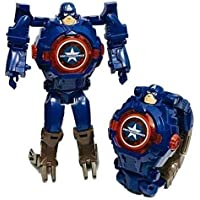 Nilkanth Toys Transformer Robot Toy Convert to Digital Wrist Watch for Kids Avengers Robot Deformation Watch Figures Plus Watch with Light