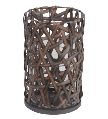 Privilege International 18562 Resin Wicker Candle Holder, Large