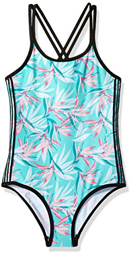 Big Chill Big Girls' One Piece Swimsuit with Double Back Strap, Seafoam, ()