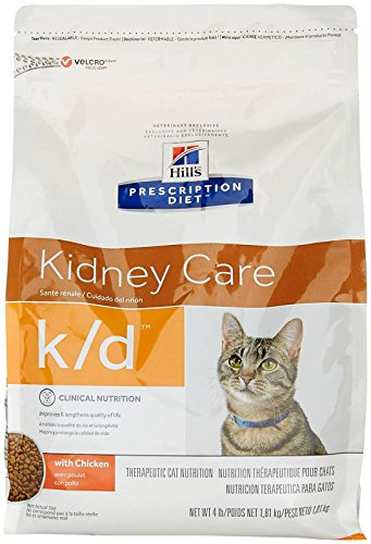Hill's Prescription Diet k/d Feline Renal Health Dry Food 4-lb bag (Best Diet For Cats With Kidney Disease)
