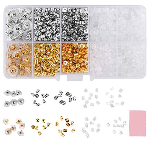 1200Pcs Earring Backs, Earring Backings iBayam 10 Styles Earring Back Clips Bullet Shape Earring Backs Butterfly Metal Rubber Plastic Secure Earring Backs for Safety (1200PCS/600Pairs)