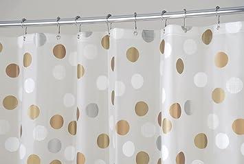 MDesign Metallic Dot PEVA Shower Curtain, Mold And Mildew Resistant, Water  Repellent   72u0026quot