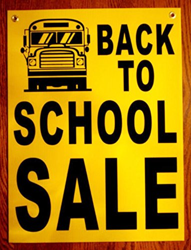 "1 Pc Garnished Unique Back to School Sale Sign Business Declare Plastic Coroplast Window Notice Real Estate Signs Clearance Price Home Kit Signage Banners Store Retail Banner Size 18""x24"" w/ Grommets"