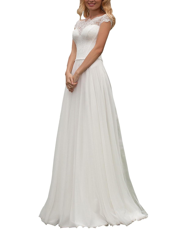 Izanoy Damen Hochzeitskleid A-Linie weg von der Schulter Sweep ...