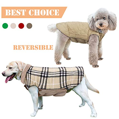 IREENUO Pet Dog Jackets Windproof Warm Coats - Snug British Style Plaid Reversible Vest Clothes Autumn Winter Padded Waistcoat Chest Protector Suitable for Small Medium Large Dogs (XS-3XL) Beige L (Chart Autumn)