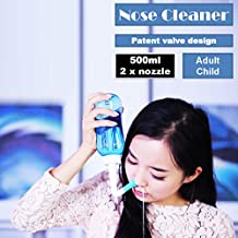 Nasal Nose Wash Bottle 500ml Clean Irrigator Allergies Relief Pressure Rinse Neti Pot Cleanser Irrigation,Blue Color (500ML)