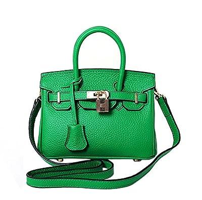 Ainifeel Women's Genuine Leather 25cm Padlock Shoulder Handbag Hobo Bag