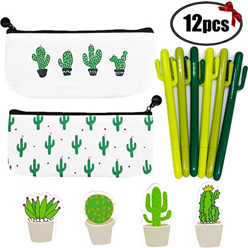Sgift Cactus School Supplies Gift Set for Kids-Pen Bags with Zipper Cactus Stationery Pouch Bags+Cactus Pens Set+Cactus Sticky Notes, Pen Gift Set Kids Birthday,Christmas Cactus Gifts Ideas by Sgift