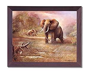 Elefante africano Safari para la pared Decor Animal Wildlife Póster con marco