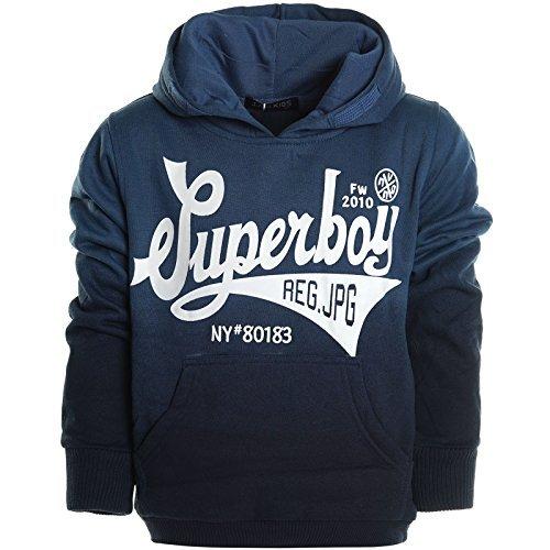 Kinder Pullover Kapuzenpullover Hoodie Jacke Sweatshirt Kapuzen Sweatjacke 20620, Farbe:Blau;Größe:176