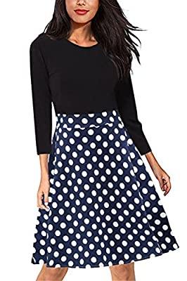 Giotto Women's Casual Flare Floral Contrast A-line Evening Party Midi Dress