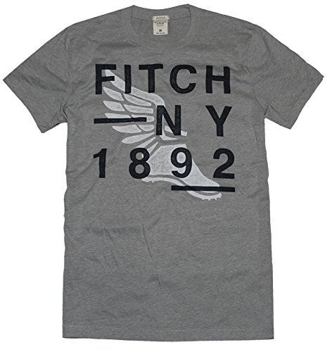 Abercrombie & Fitch Men Muscle Fit Crew Neck Graphic Tee (XL, Heather grey)