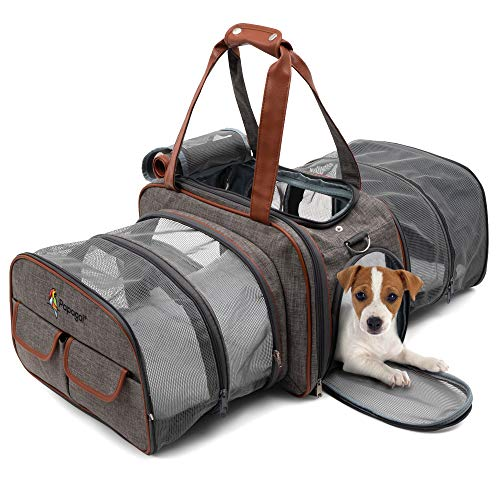 Premium Double Expandable Airline Approved Pet Carrier, Soft Sided Cat and Dog Carrier Bag, Pet Travel Carrier with Plush Fleece Bedding for Airplanes, Cars, Travel Tote with Seatbelt Strap