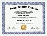 Abstract Art Degree: Custom Gag Diploma Doctorate Certificate (Funny Customized Joke Gift - Novelty Item)