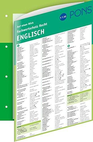 PONS Fachwortschatz auf einen Blick Recht: Deutsch - Englisch (PONS Auf einen Blick)