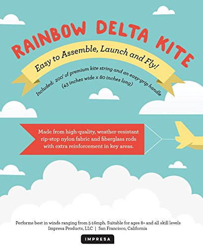 Large Delta Kite/Rainbow Kite (200' of Line) - Easy to Assemble, Launch, Fly - Premium Quality, One of the Best Kites for Kids/Kites for Adults - Great Beginner Kite Impresa(TM) by Impresa Products (Image #3)