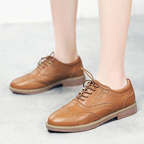Stil flache College Schuhe Damenschuhe Leder Farbe Casual Frühling größe Braun 40 weiblich einzelne Damenschuhe britischen HWF fx4ntt