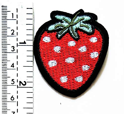 Bambini T shirt Cute Embroidered Patch giacca Rider Rosso Jacket On Frutta Strawberry Tattoo Cartoon Sew Gilet Biker Fragola Sign Iron Kid Motorcycle Badge xwYwqZa4